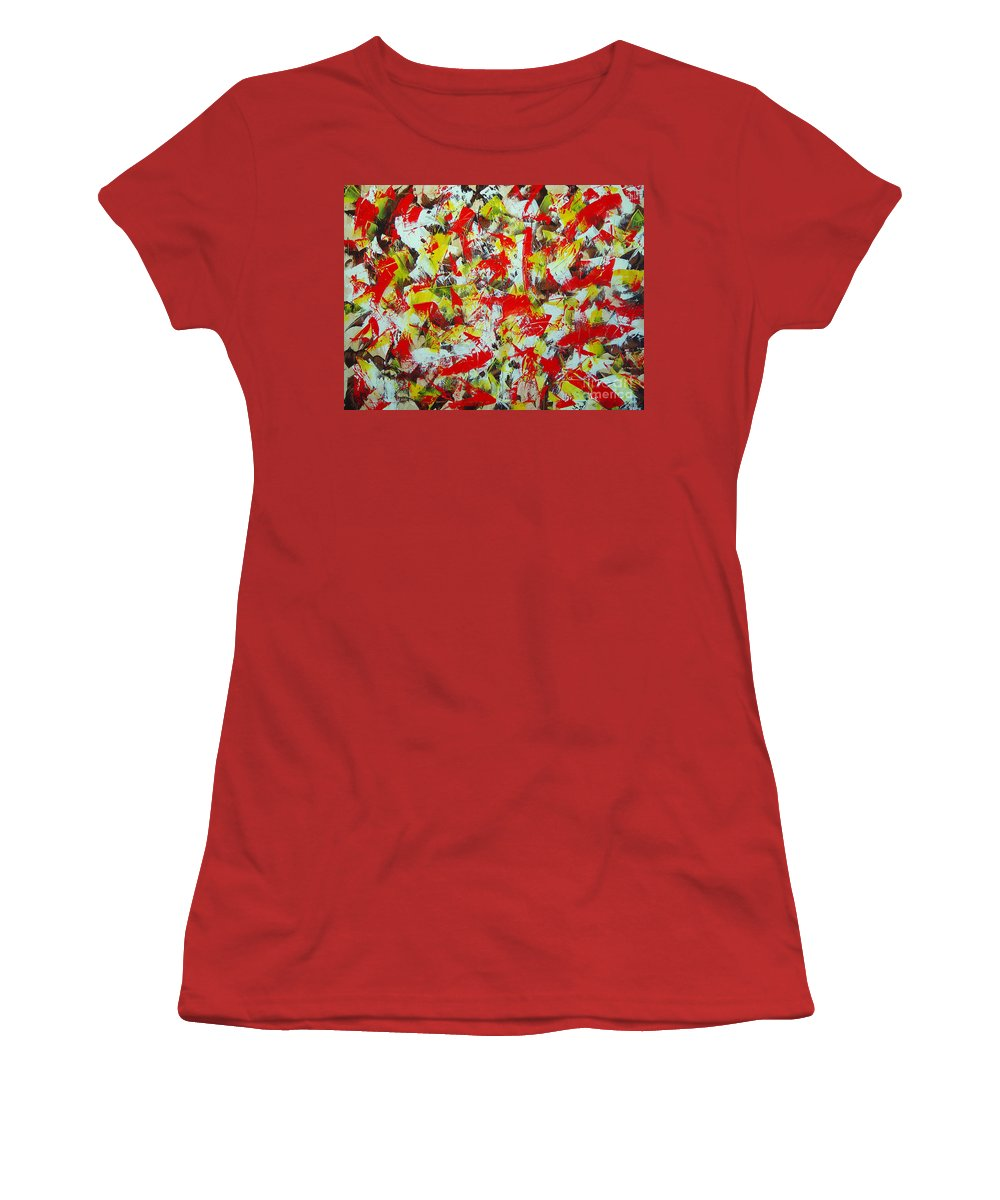 Abstract Women's T-Shirt (Athletic Fit) featuring the painting Transitions With Yellow Brown And Red by Dean Triolo