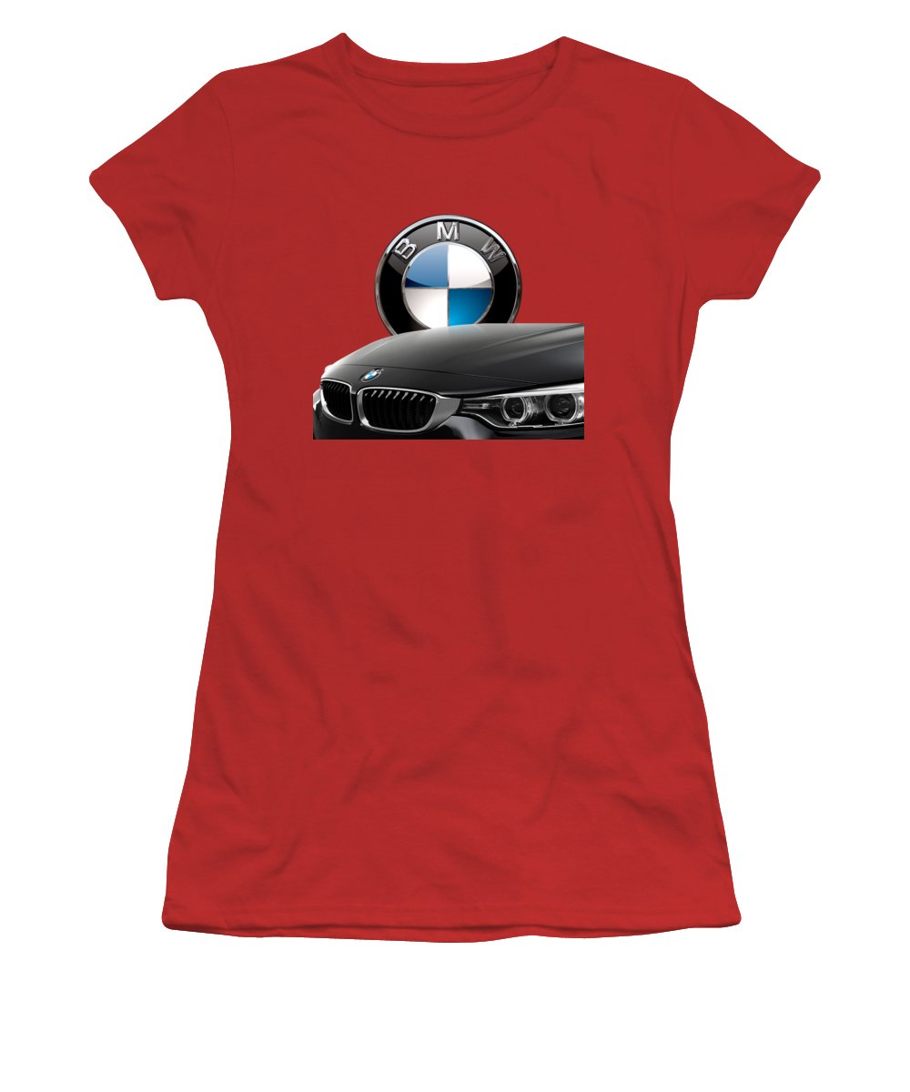 �auto Badges� Collection By Serge Averbukh Women's T-Shirt (Junior Cut) featuring the photograph Black B M W - Front Grill Ornament And 3 D Badge On Red by Serge Averbukh