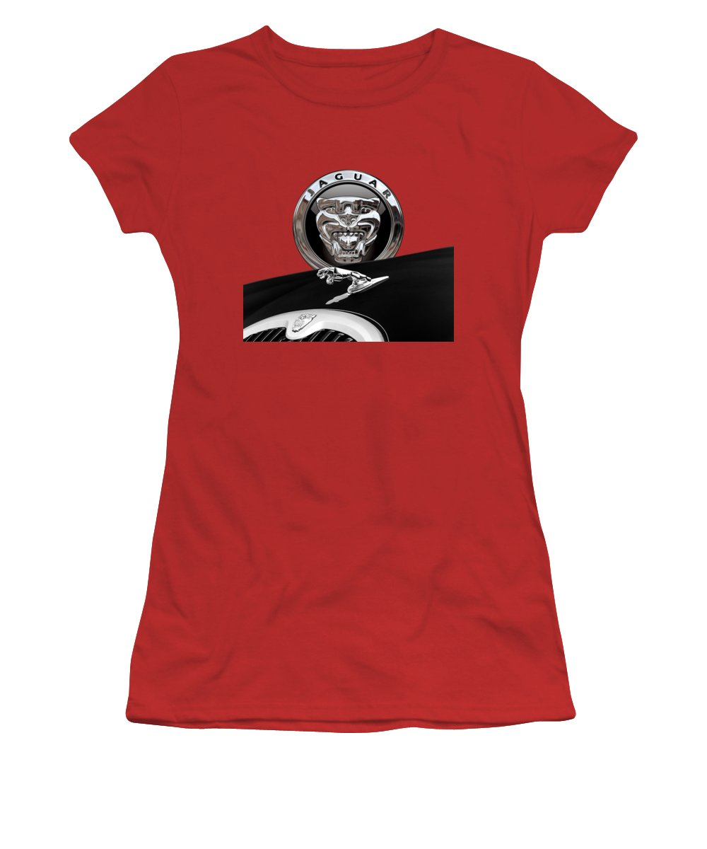 'auto Badges' Collection By Serge Averbukh Women's T-Shirt (Junior Cut) featuring the photograph Black Jaguar - Hood Ornaments And 3 D Badge On Red by Serge Averbukh