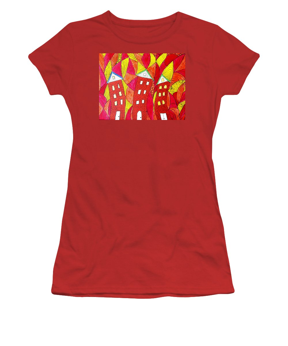 Houses Women's T-Shirt (Athletic Fit) featuring the painting Summer In The City by Wayne Potrafka
