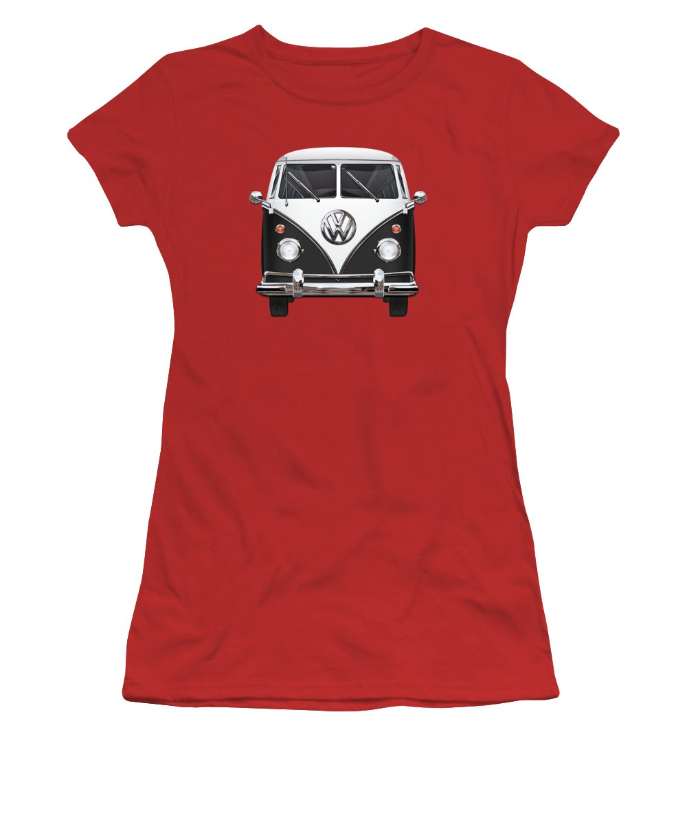 'volkswagen Type 2' Collection By Serge Averbukh Women's T-Shirt (Junior Cut) featuring the photograph Volkswagen Type 2 - Black And White Volkswagen T 1 Samba Bus On Red by Serge Averbukh