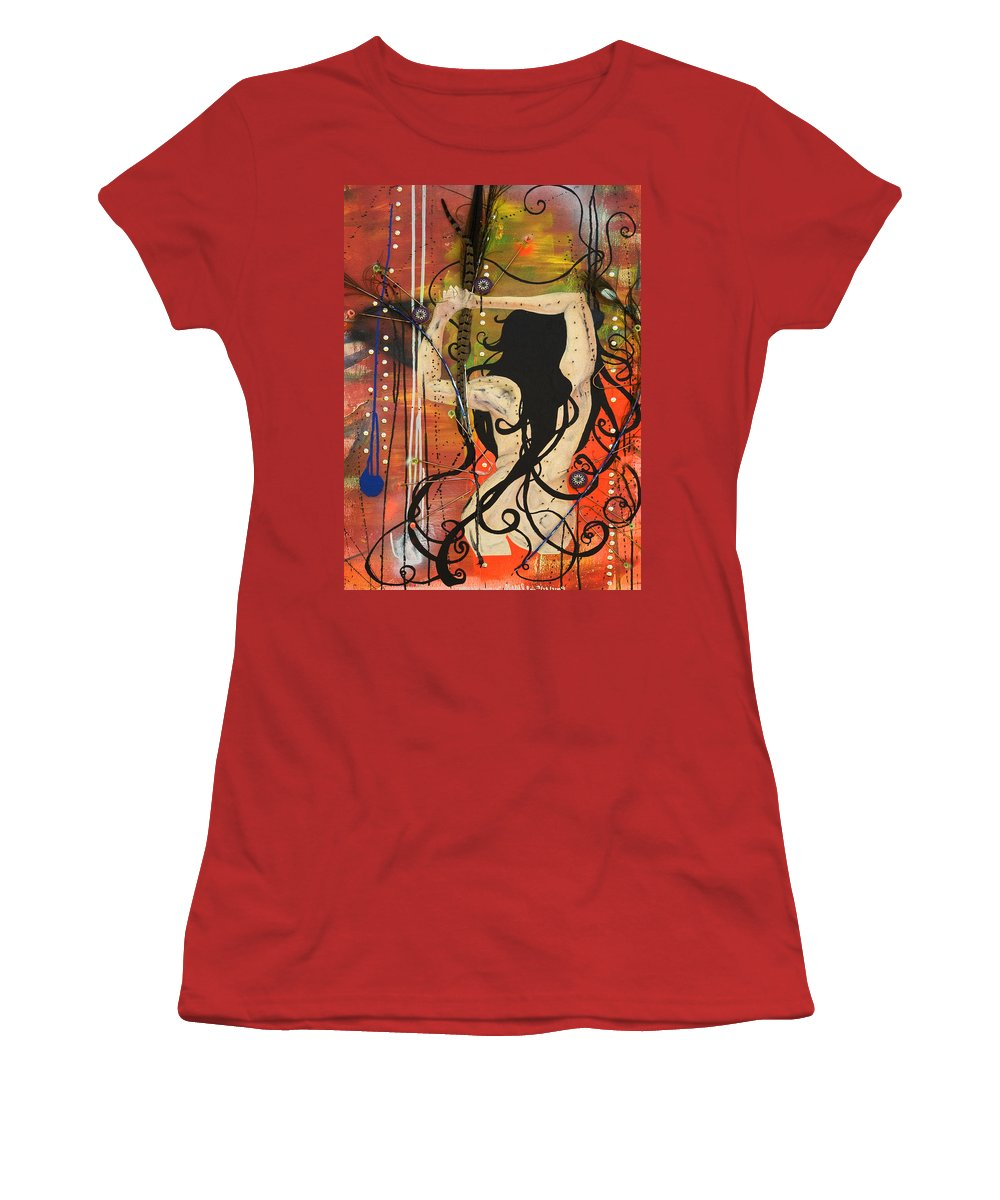 Woman Women's T-Shirt (Athletic Fit) featuring the painting American Witch by Sheridan Furrer