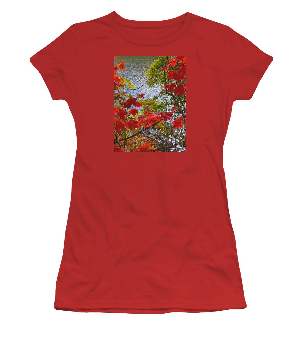 Autumn Women's T-Shirt (Athletic Fit) featuring the photograph Autumn Lake by Ann Horn