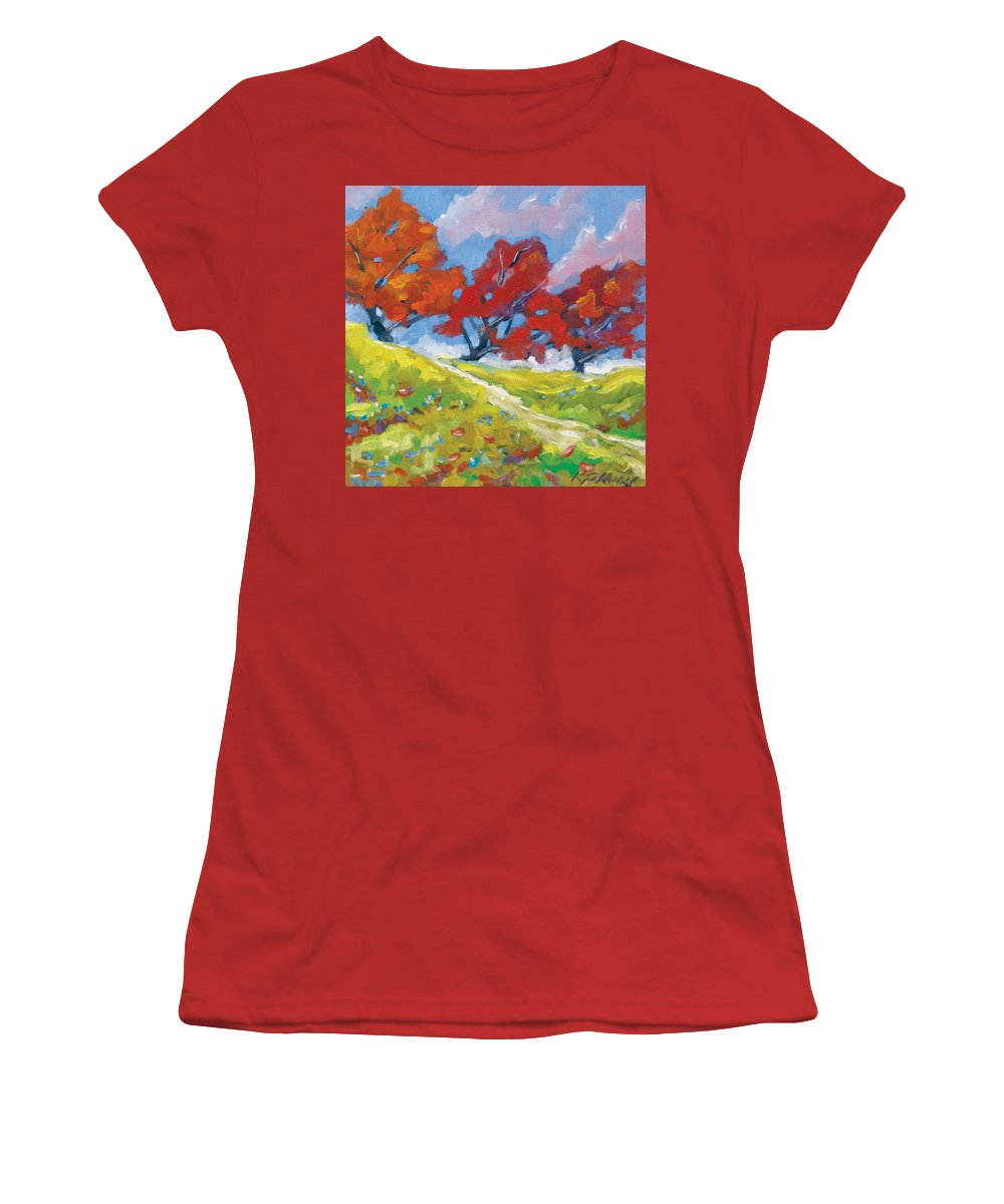 Art Women's T-Shirt (Athletic Fit) featuring the painting Automn Trees by Richard T Pranke