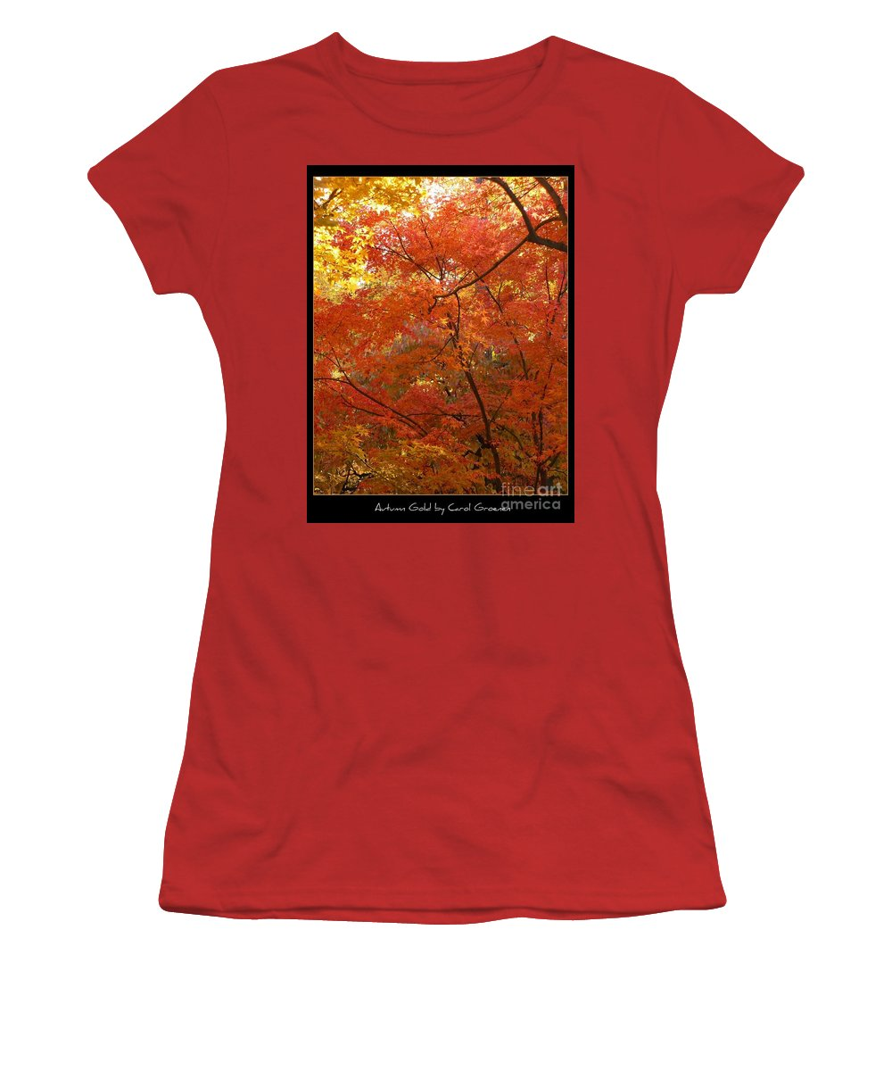 Fall Women's T-Shirt (Athletic Fit) featuring the photograph Autumn Gold Poster by Carol Groenen