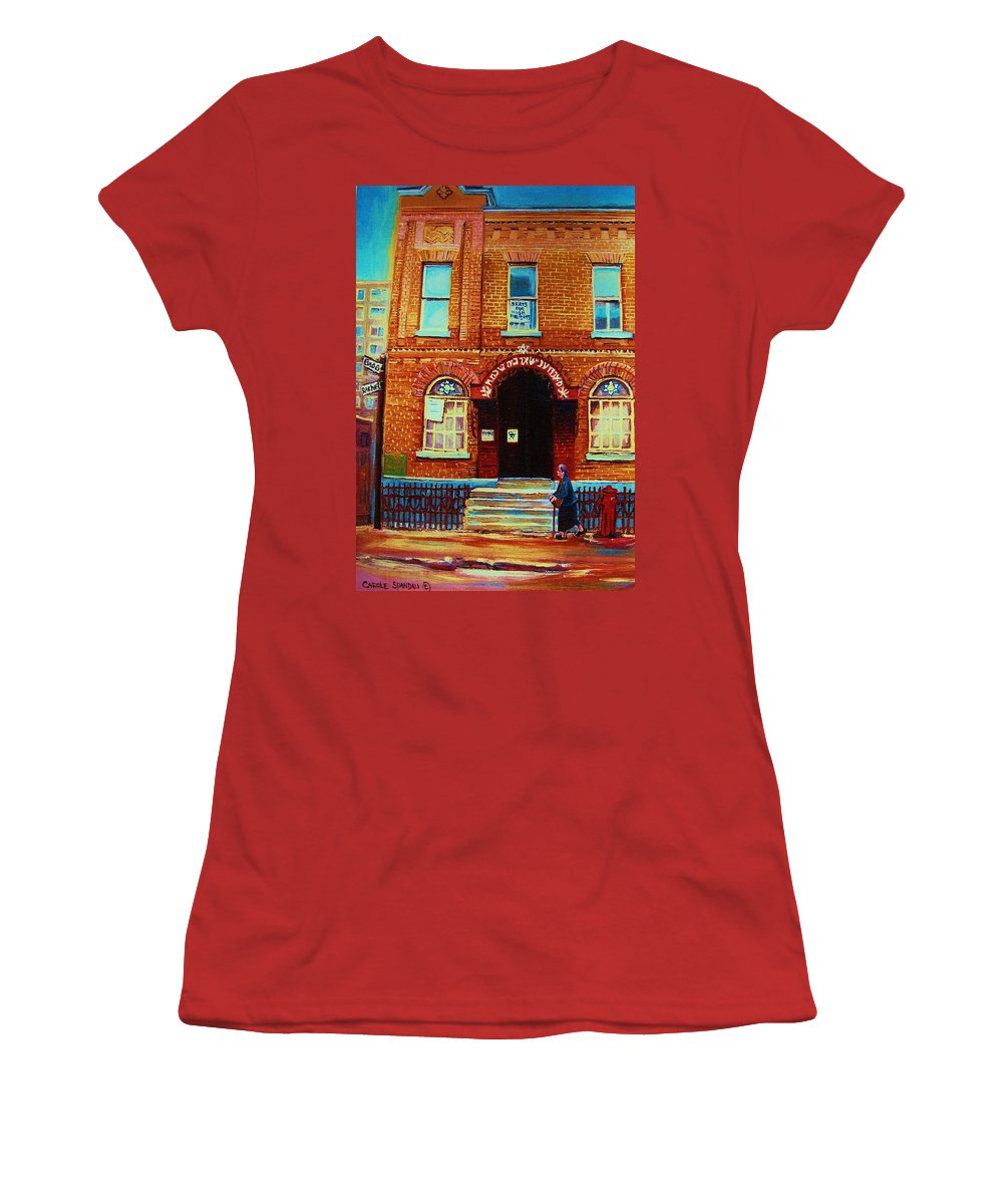 Judaica Women's T-Shirt (Athletic Fit) featuring the painting Bagg Street Synagogue by Carole Spandau