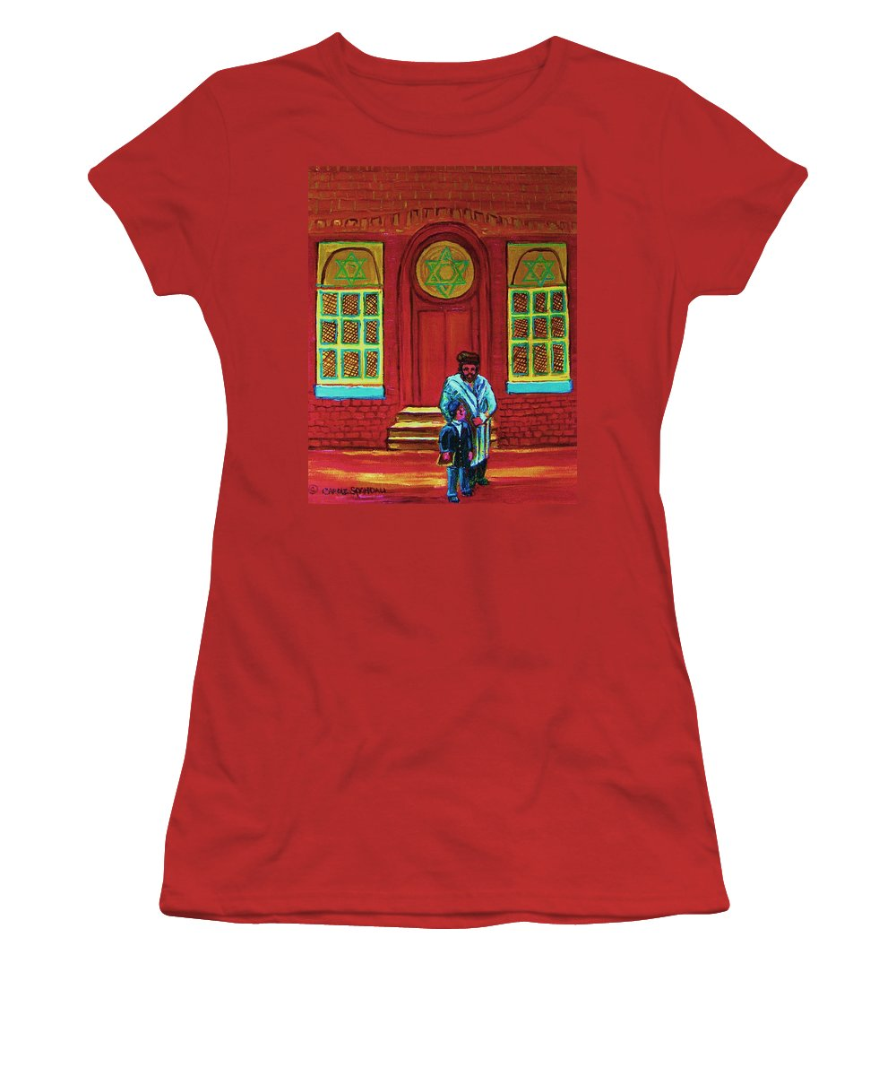 Synagogues Women's T-Shirt (Athletic Fit) featuring the painting Bar Mitzvah Lesson At The Synagogue by Carole Spandau