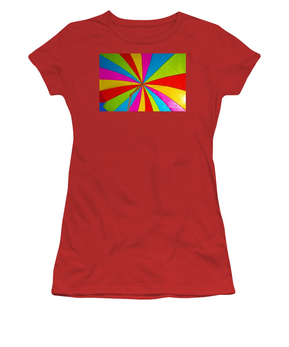 Beach Women's T-Shirt (Athletic Fit) featuring the photograph Beach Umbrella by David Lee Thompson