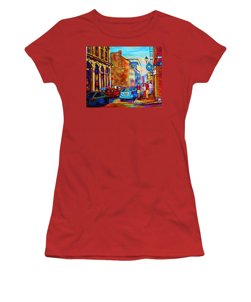 Montreal Women's T-Shirt (Athletic Fit) featuring the painting Blue Cars At The Resto Bar by Carole Spandau