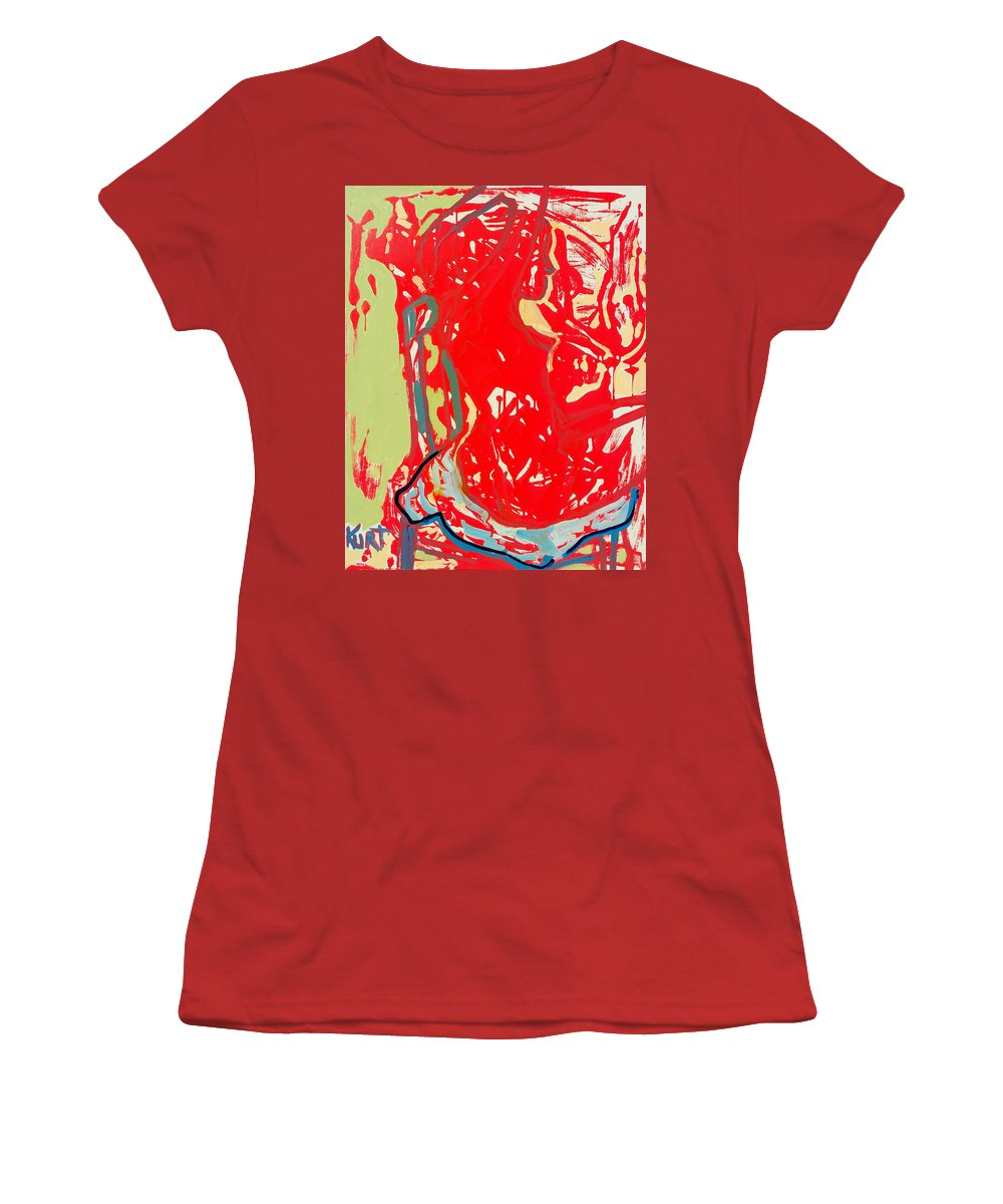 Nude Women's T-Shirt (Athletic Fit) featuring the painting Blue Chair by Kurt Hausmann