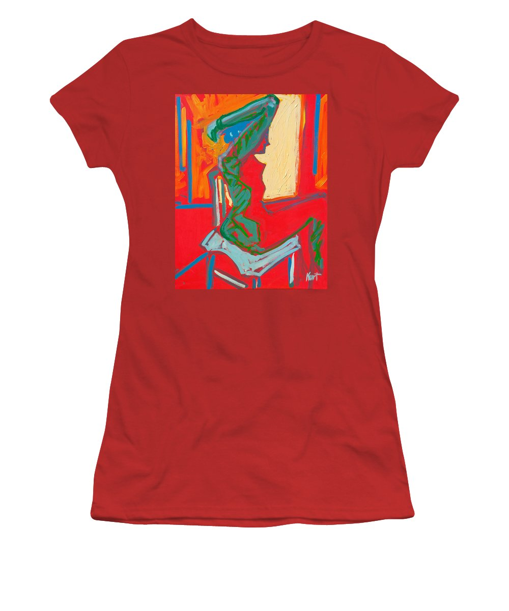 Woman Women's T-Shirt (Athletic Fit) featuring the painting Blue Chair Study by Kurt Hausmann