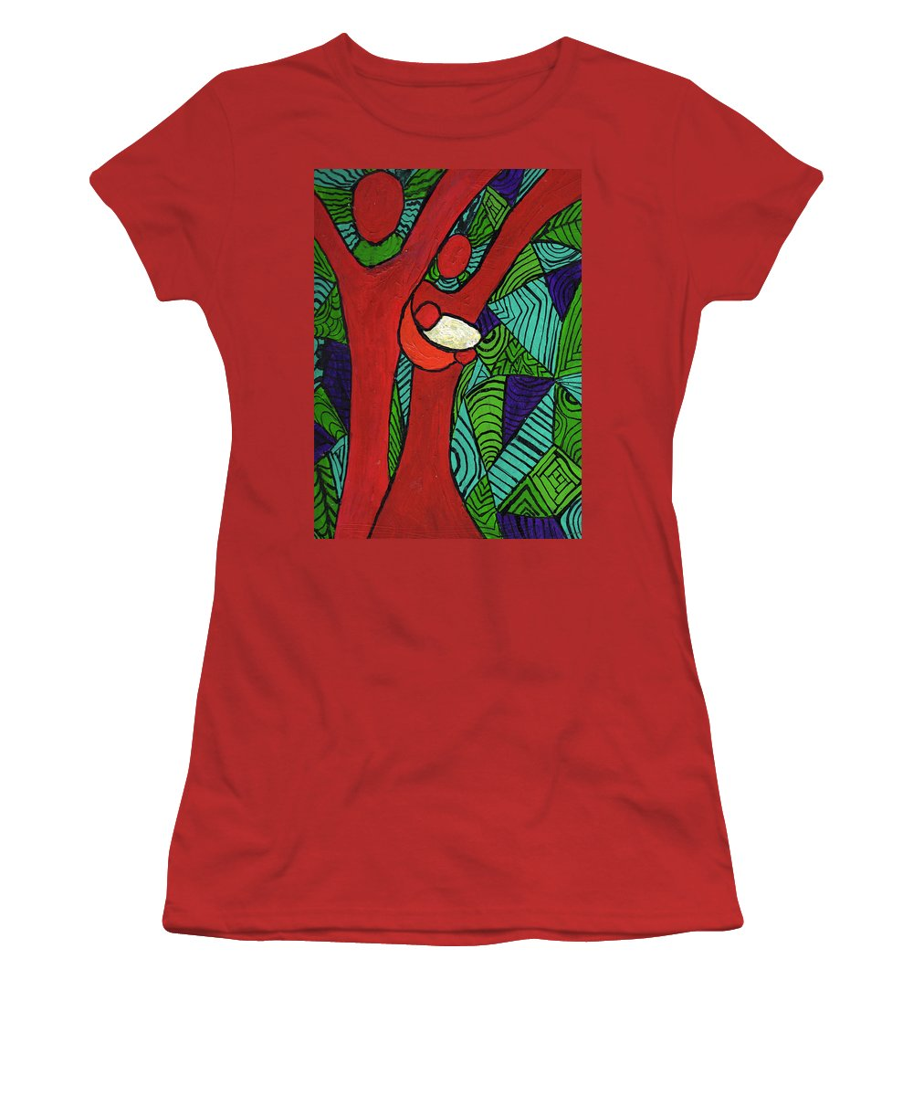 Family Women's T-Shirt (Athletic Fit) featuring the painting Bright New Day by Wayne Potrafka