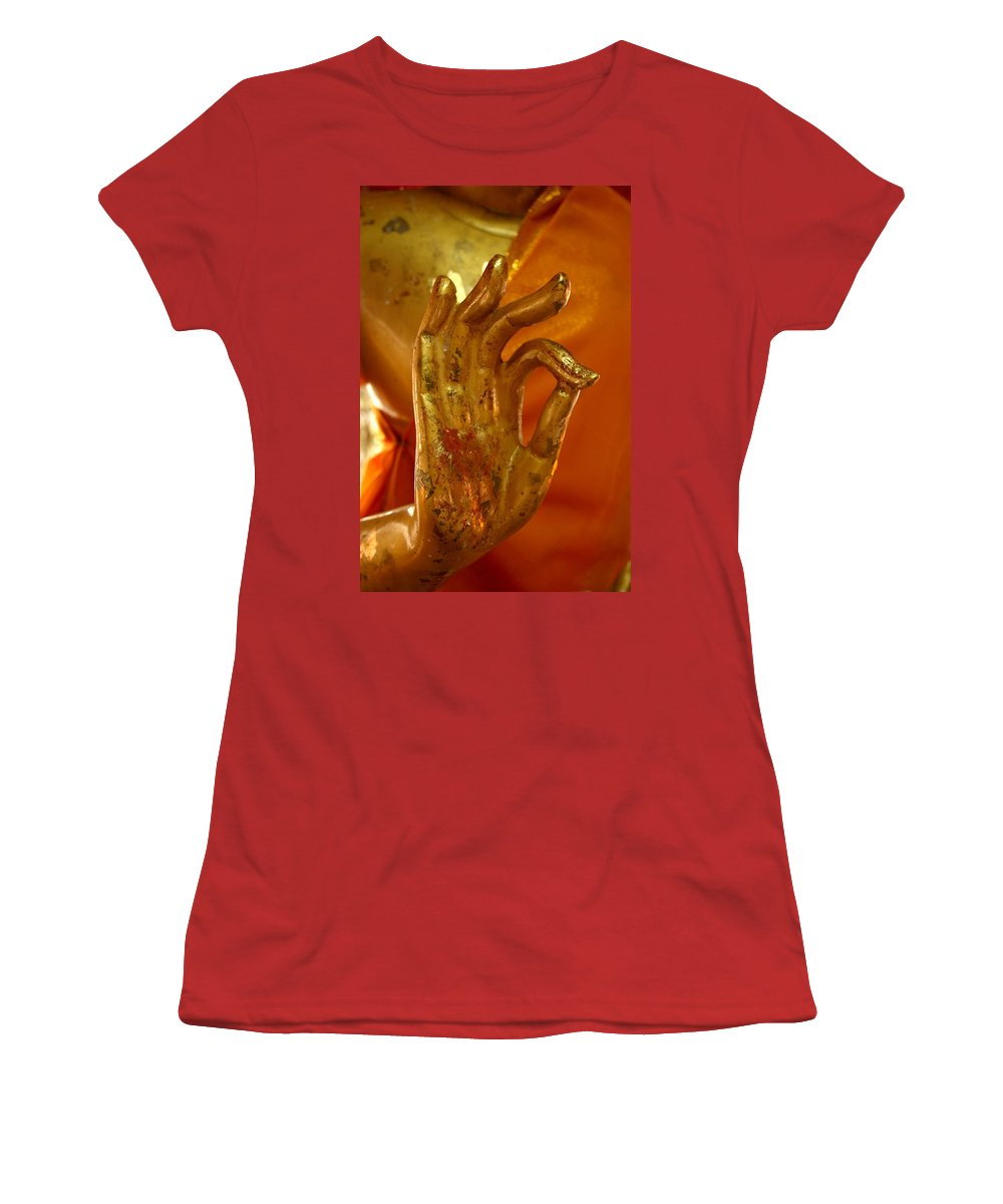 Buddhism Women's T-Shirt (Athletic Fit) featuring the photograph Buddhism Symbols by Minaz Jantz