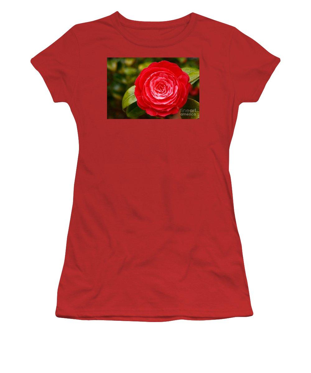 Azores Women's T-Shirt (Athletic Fit) featuring the photograph Camellia Japonica by Gaspar Avila