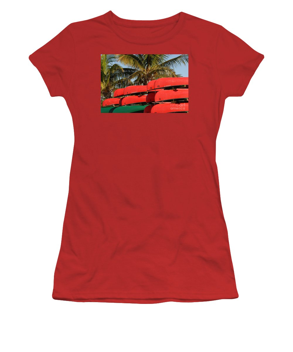 Flamingo Florida Women's T-Shirt (Athletic Fit) featuring the photograph Canoe's At Flamingo by David Lee Thompson