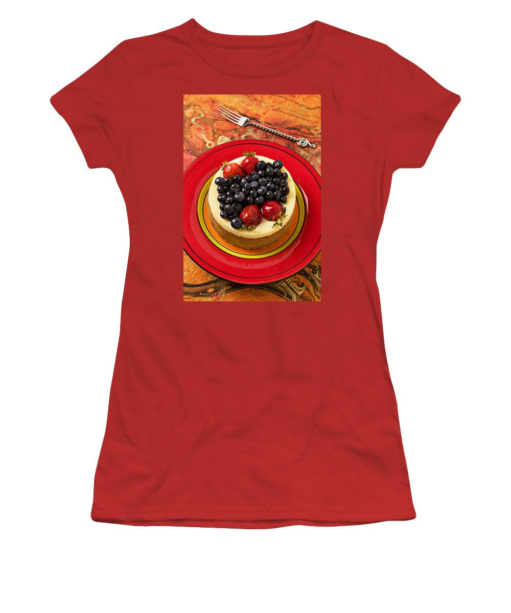 Fruit Women's T-Shirt (Athletic Fit) featuring the photograph Cheesecake On Red Plate by Garry Gay