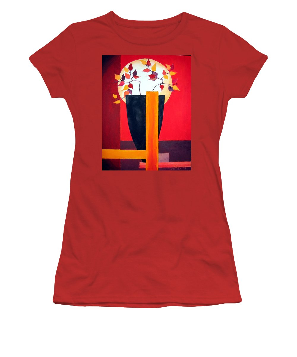 Flower Women's T-Shirt (Athletic Fit) featuring the painting Chinese Flower On Vase by Alban Dizdari