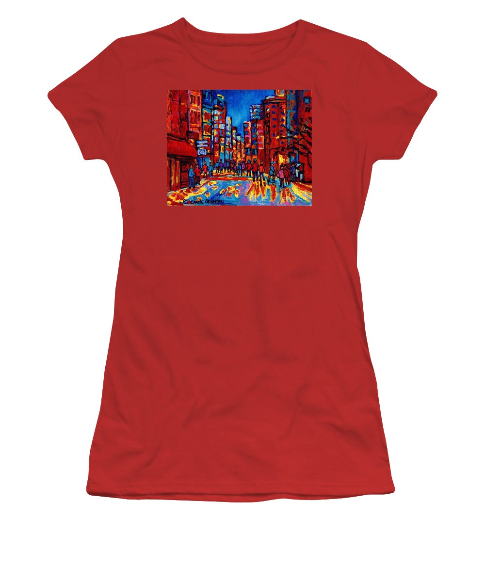 Montreal Women's T-Shirt (Athletic Fit) featuring the painting City After The Rain by Carole Spandau
