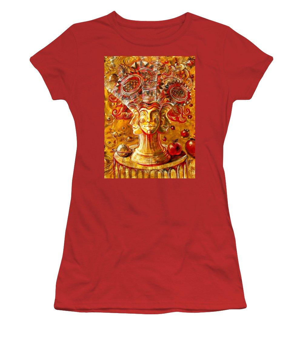 Inga Vereshchagina Women's T-Shirt (Athletic Fit) featuring the painting Clowns With Sunflowers by Inga Vereshchagina