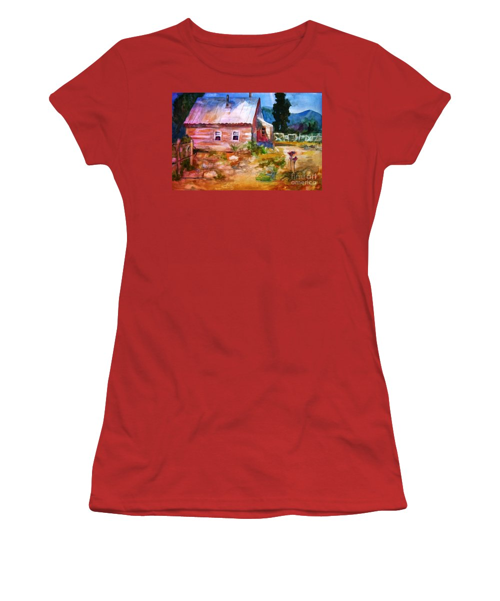 Cottage Women's T-Shirt (Athletic Fit) featuring the painting Country House by Frances Marino