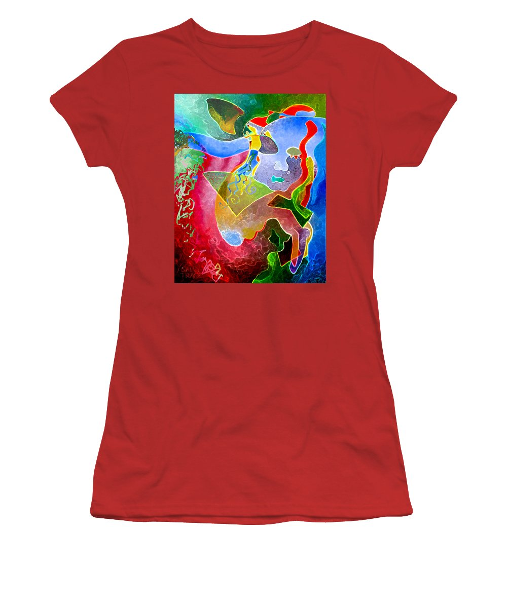 Coffee Women's T-Shirt (Athletic Fit) featuring the painting Daydreams by Sally Trace