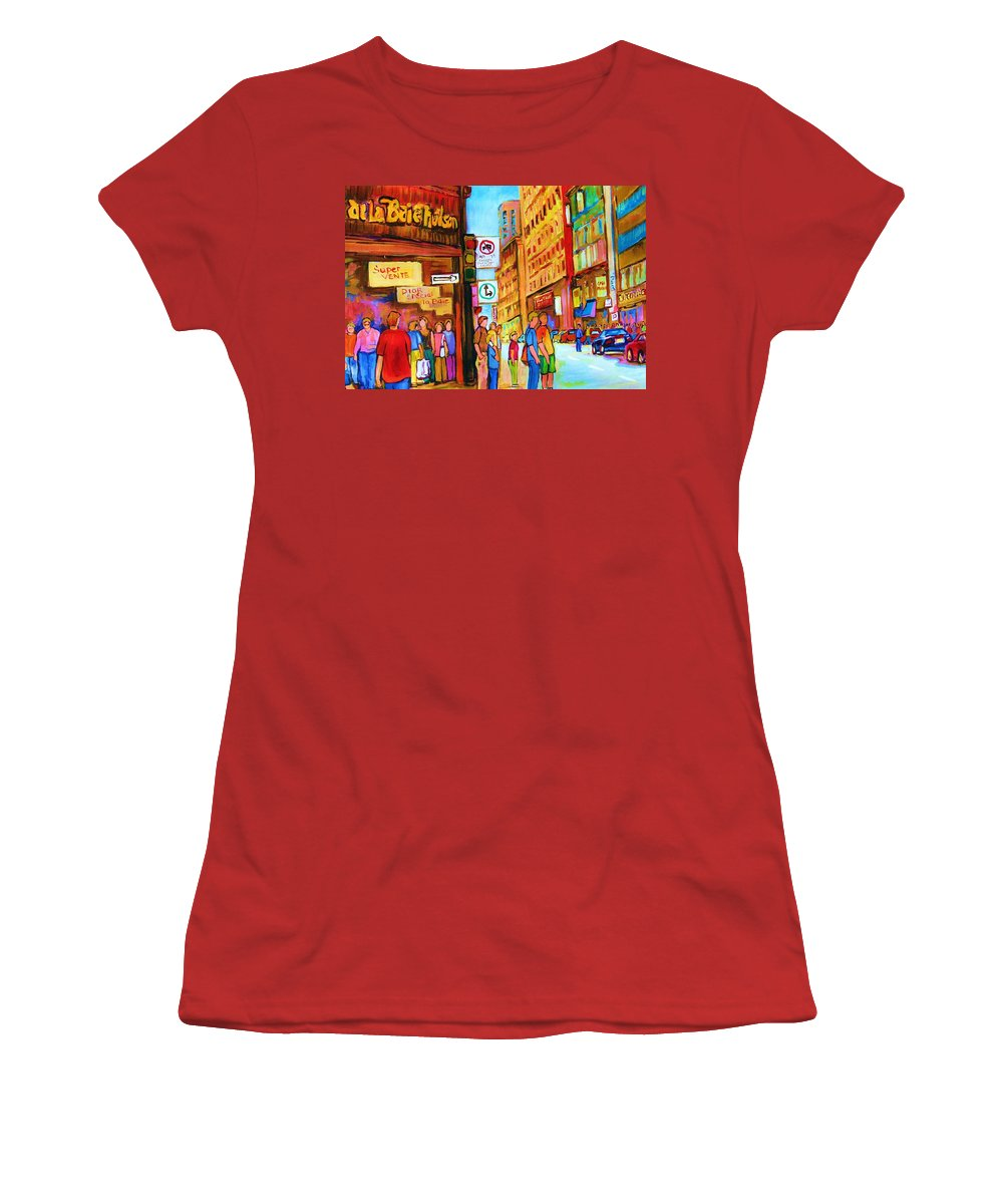Cityscape Women's T-Shirt (Athletic Fit) featuring the painting Downtown by Carole Spandau