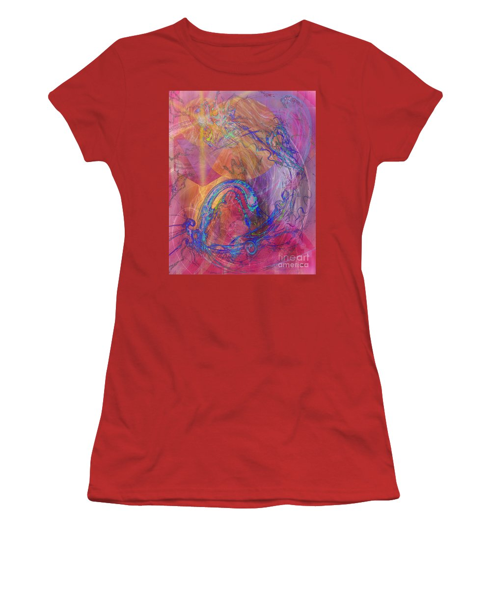 Dragon's Tale Women's T-Shirt (Athletic Fit) featuring the digital art Dragon's Tale by John Beck