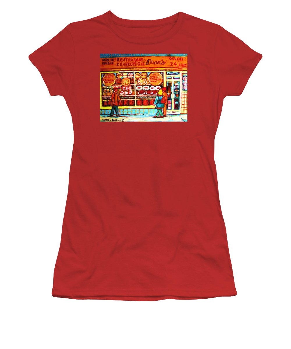 Montreal Women's T-Shirt (Athletic Fit) featuring the painting Dunn's Treats And Sweets by Carole Spandau