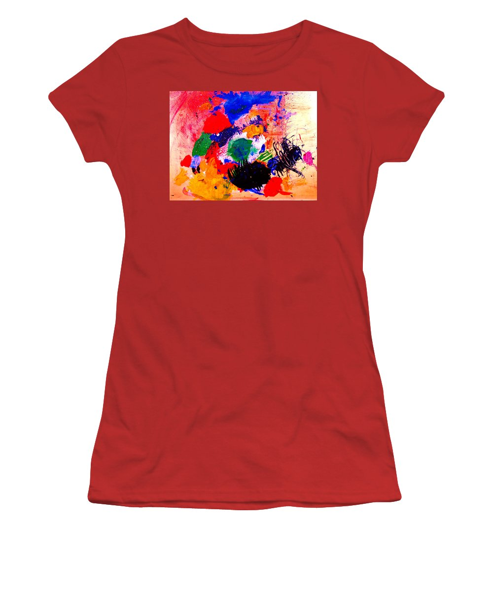 Abstract Women's T-Shirt (Athletic Fit) featuring the painting Evolving Evolution by Natalie Holland