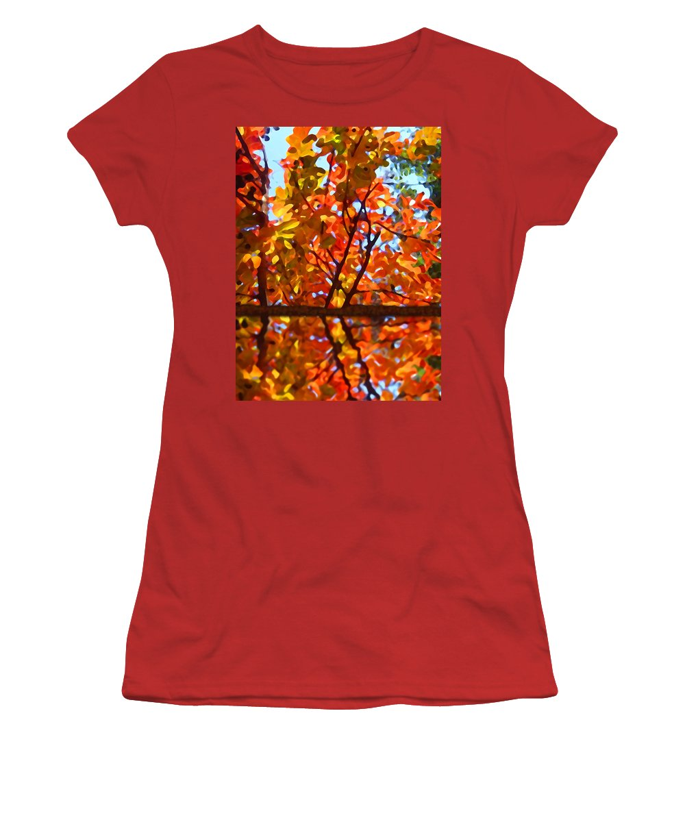 Trees Women's T-Shirt (Athletic Fit) featuring the painting Fall Reflextion by Amy Vangsgard