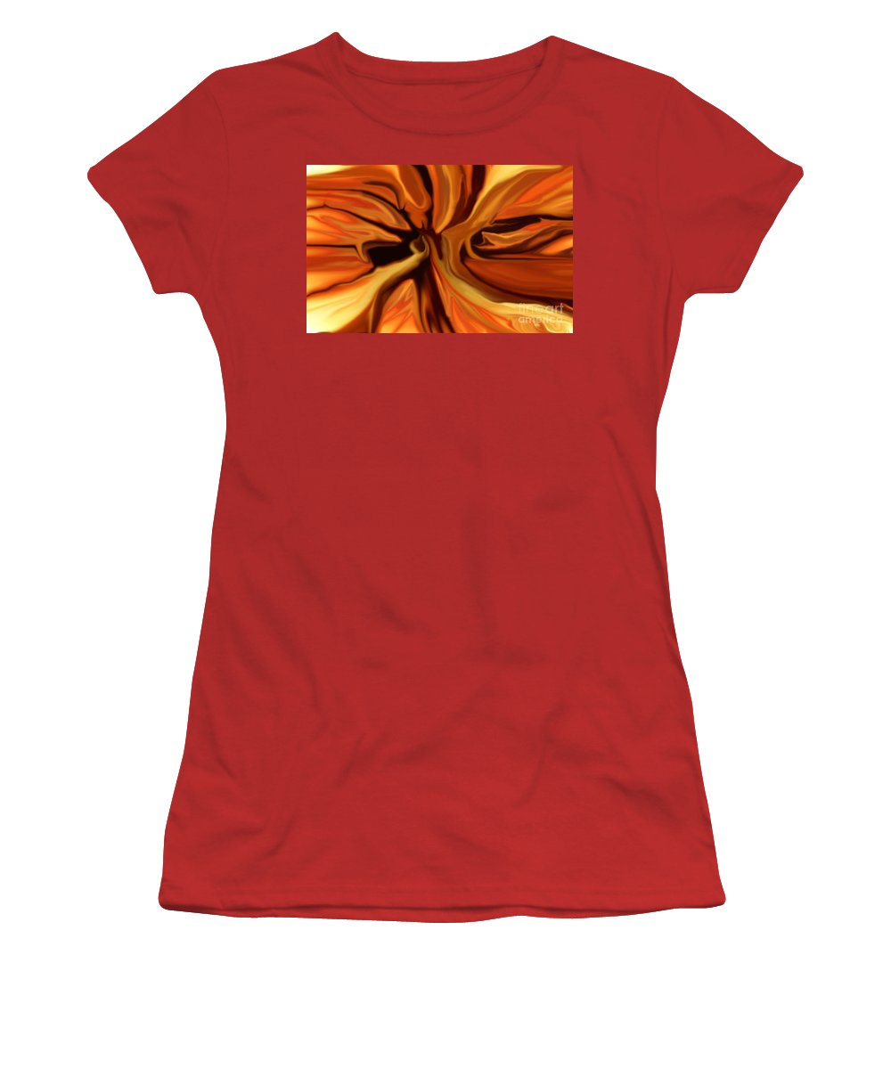 Abstract Women's T-Shirt (Athletic Fit) featuring the digital art Fantasy In Orange by David Lane
