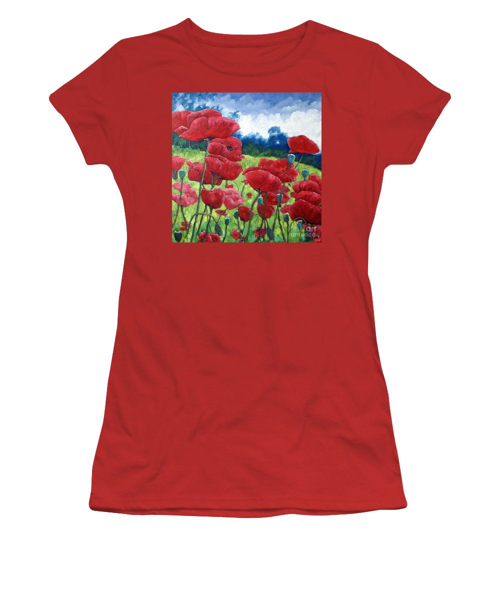 Poppies Women's T-Shirt (Athletic Fit) featuring the painting Field Of Poppies by Richard T Pranke