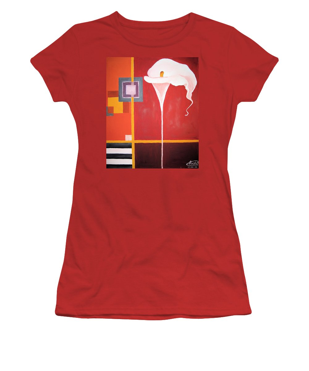 Flower Women's T-Shirt (Athletic Fit) featuring the painting Figurativ Flower by Alban Dizdari