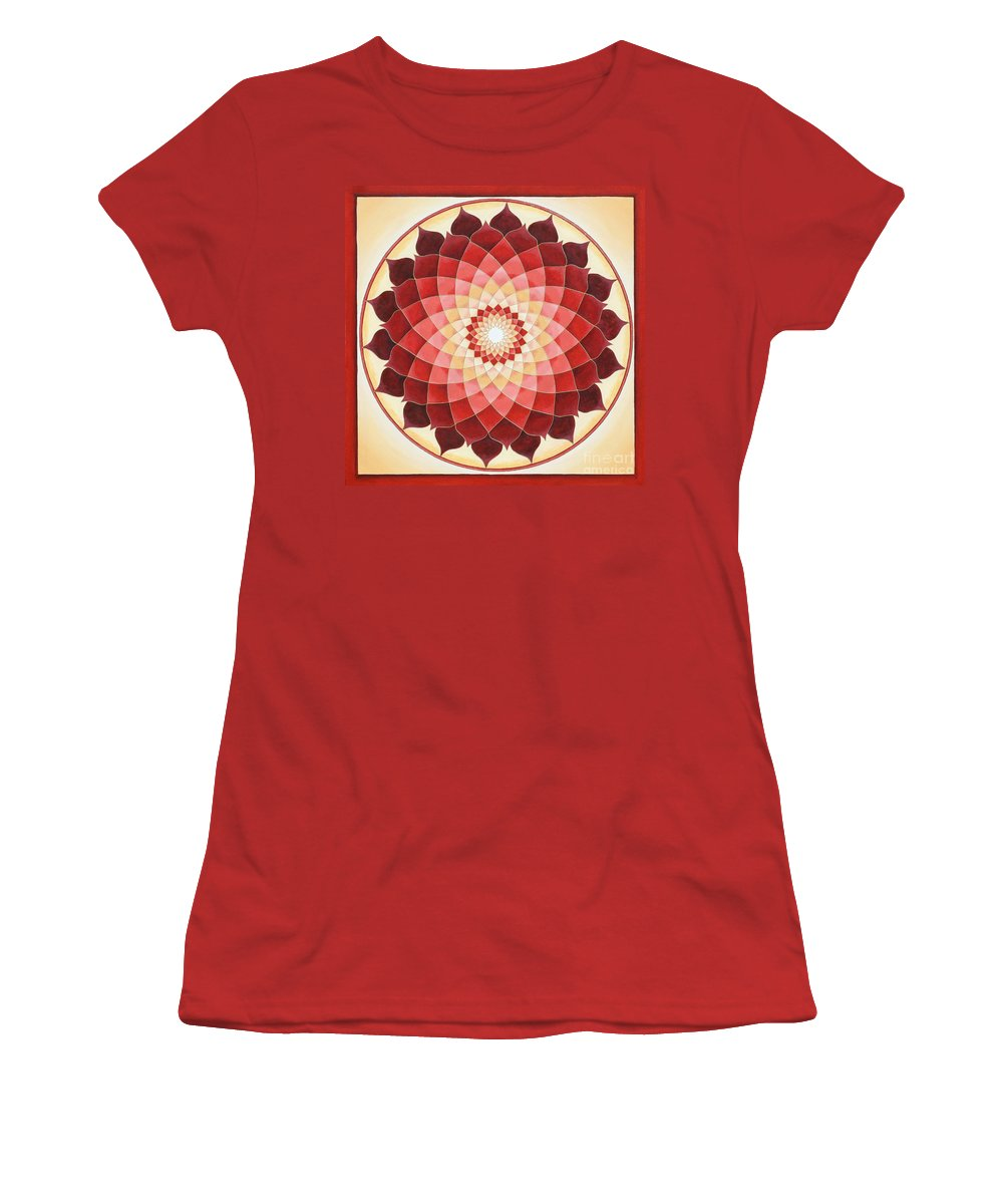 Mandala Women's T-Shirt (Athletic Fit) featuring the painting Flower Of Life by Charlotte Backman