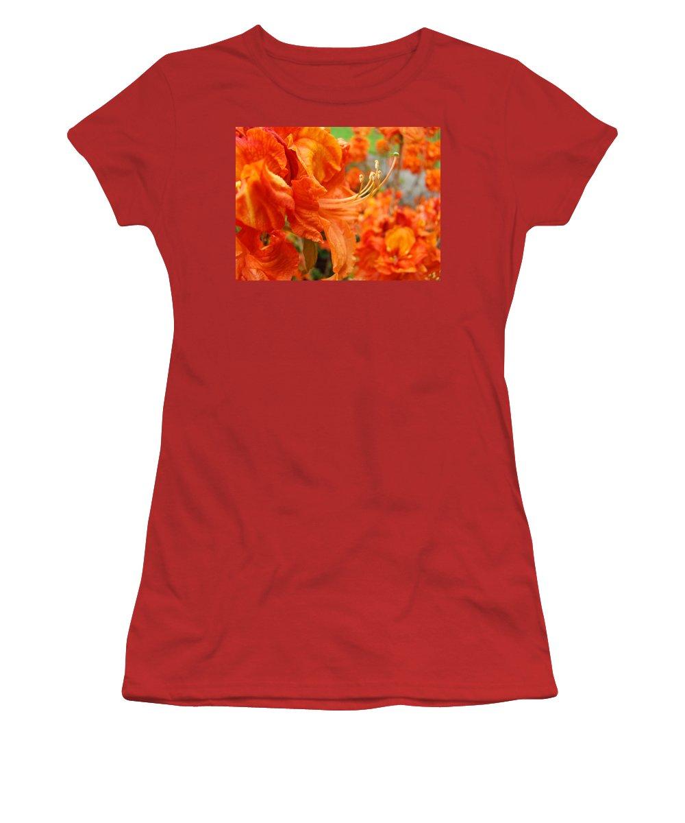 �azaleas Artwork� Women's T-Shirt (Athletic Fit) featuring the photograph Flowers Azalea Garden Orange Azalea Flowers 1 Giclee Prints Baslee Troutman by Baslee Troutman
