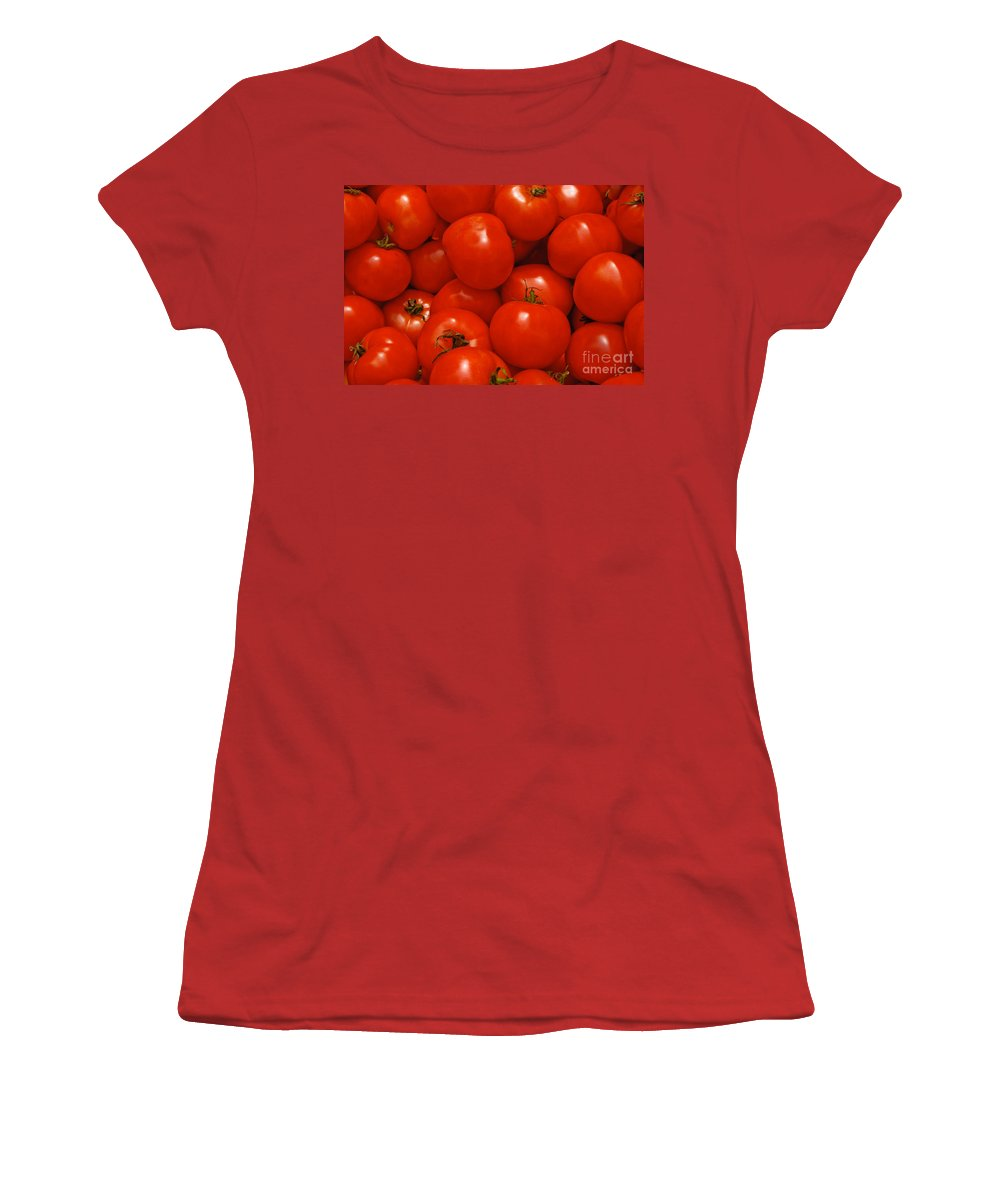 Tomato Women's T-Shirt (Athletic Fit) featuring the photograph Fresh Red Tomatoes by Thomas Marchessault
