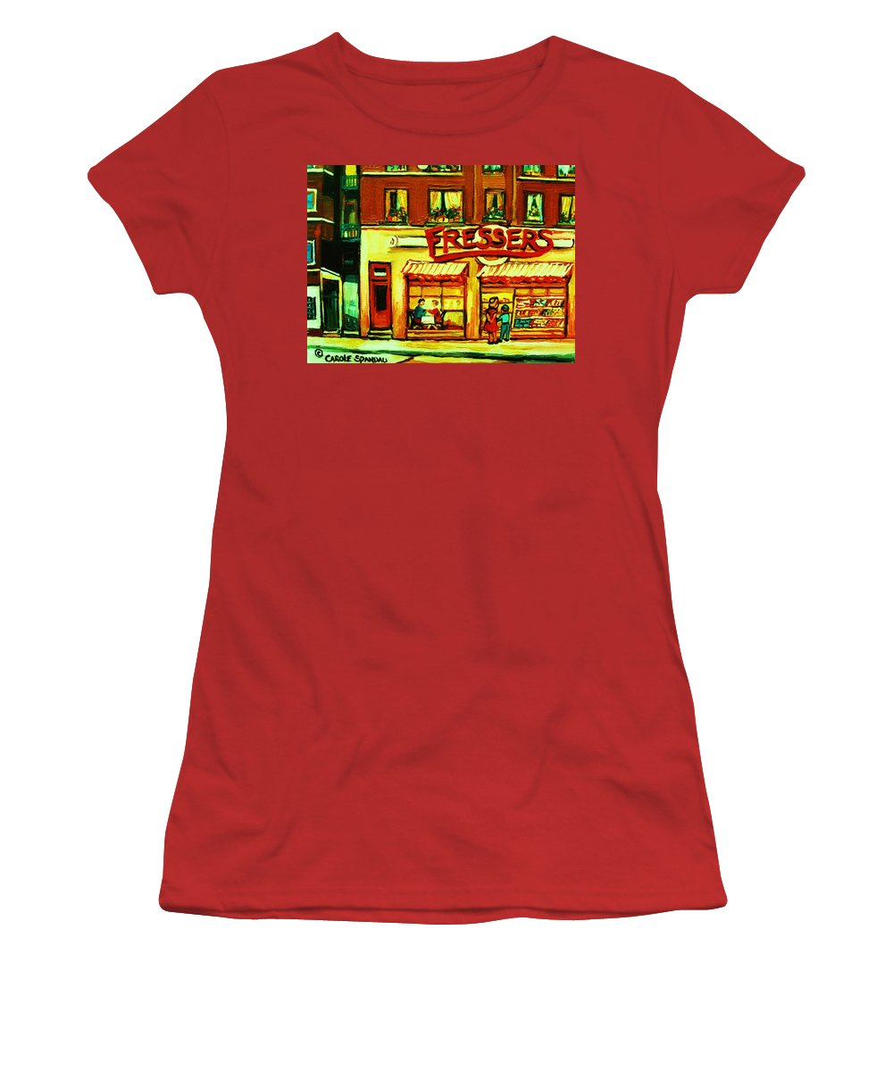 Fressers Women's T-Shirt (Athletic Fit) featuring the painting Fressers Takeout Deli by Carole Spandau