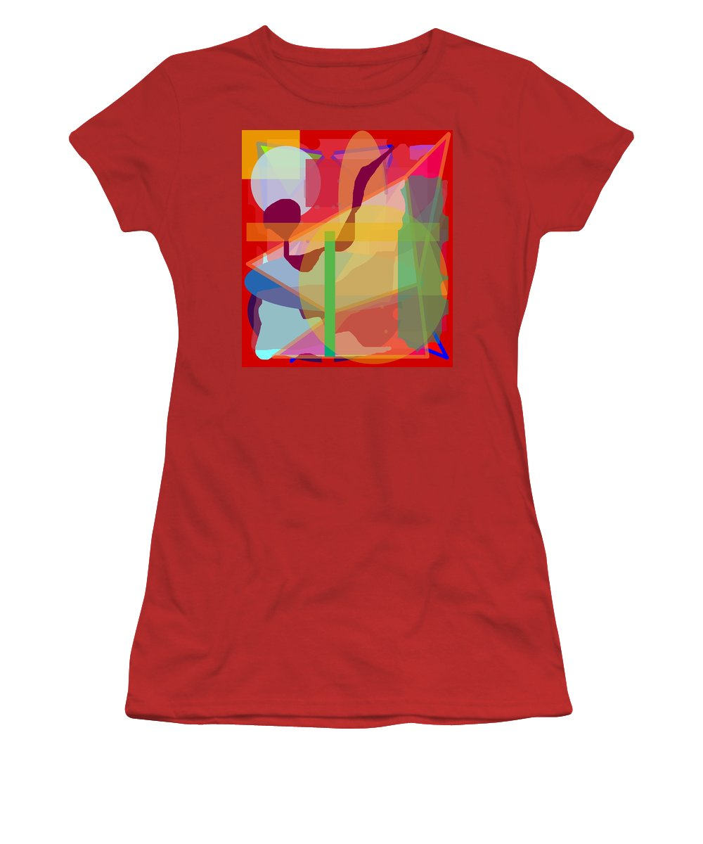 Abstract Women's T-Shirt (Athletic Fit) featuring the painting Geo Frenzy by Pharris Art