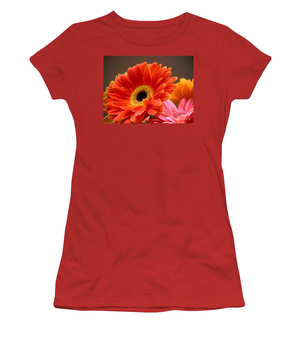 Nature Women's T-Shirt (Athletic Fit) featuring the photograph Gerbera Daisies - Luminous by Lucyna A M Green