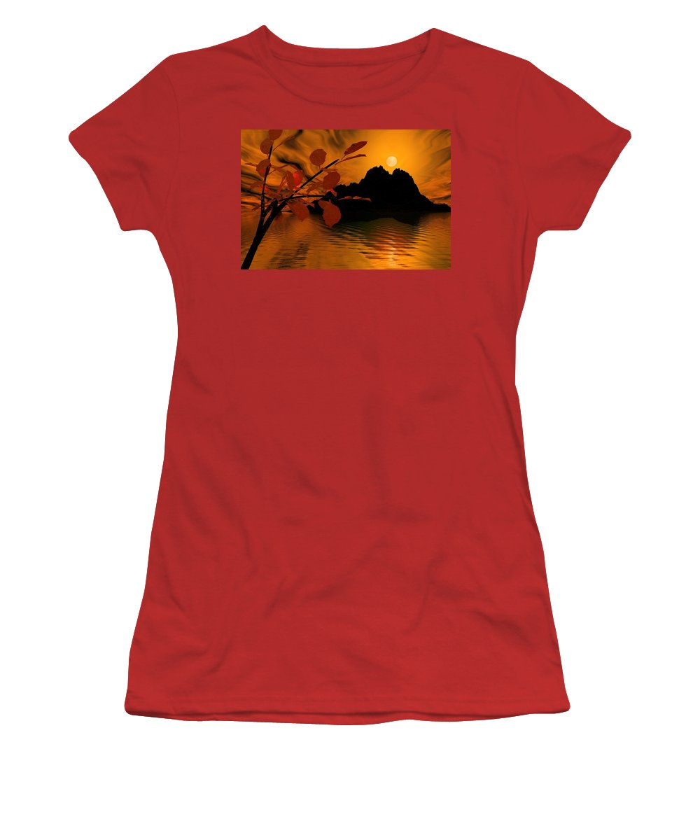 Landscape Women's T-Shirt (Athletic Fit) featuring the digital art Golden Slumber Fills My Dreams. by David Lane