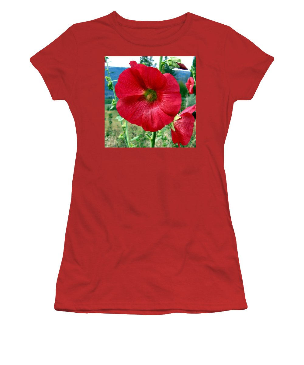 Hollyhocks Women's T-Shirt (Athletic Fit) featuring the photograph Hollyhock Hill by Will Borden