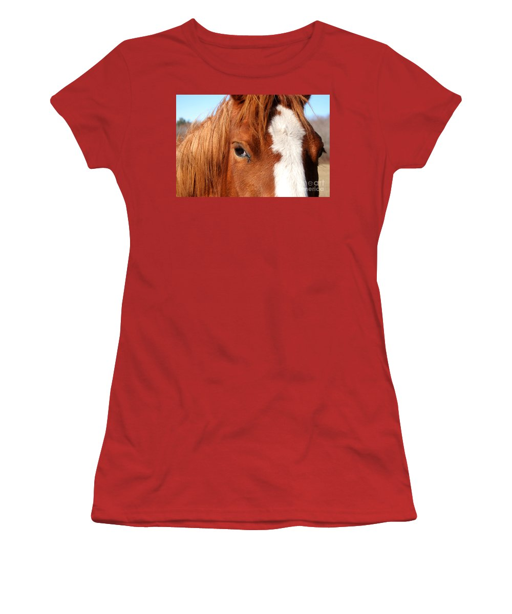 Horse Women's T-Shirt (Athletic Fit) featuring the photograph Horse's Mane by Thomas Marchessault