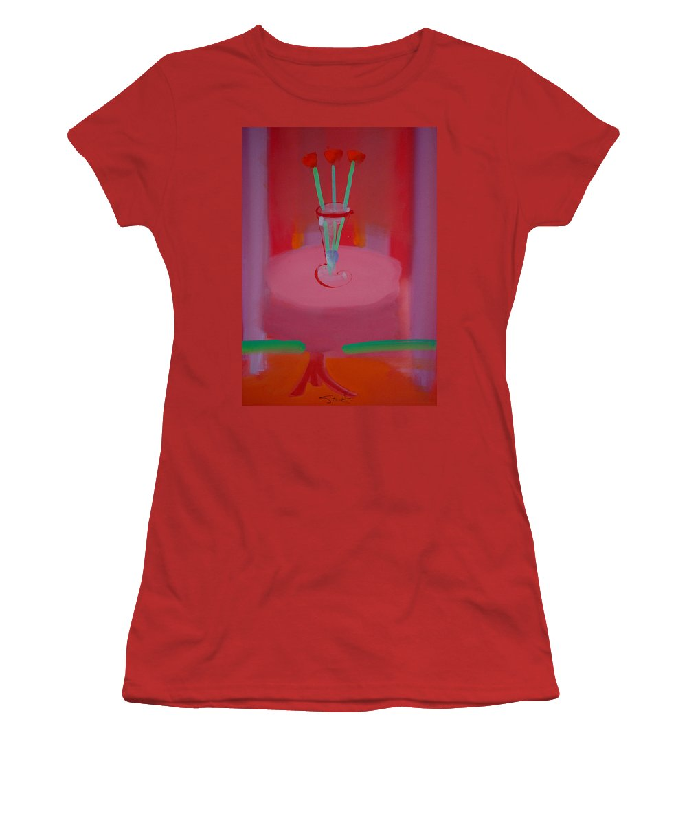 Vase Women's T-Shirt (Athletic Fit) featuring the painting In The Red Room by Charles Stuart