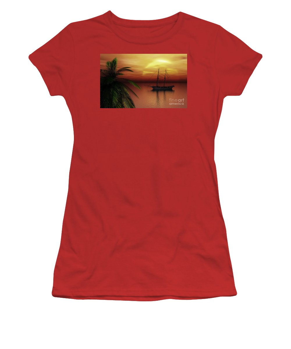 Tropical Women's T-Shirt (Athletic Fit) featuring the digital art Island Explorer by Richard Rizzo