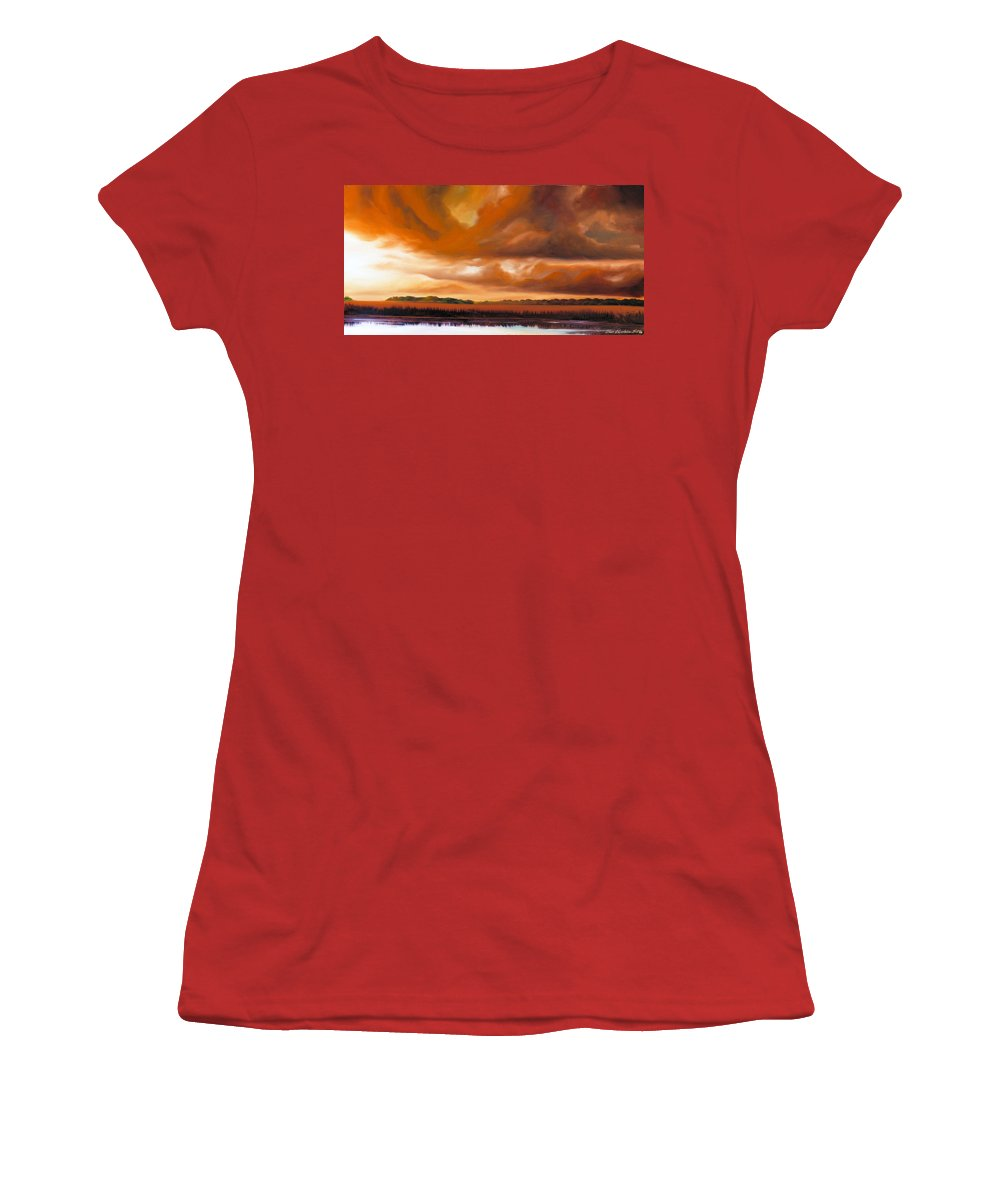 Clouds Women's T-Shirt (Athletic Fit) featuring the painting Jetties On The Shore by James Christopher Hill