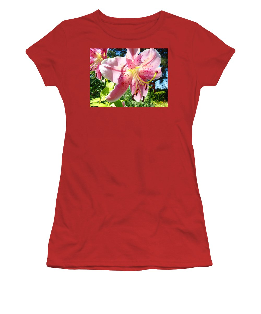 Lilies Women's T-Shirt (Athletic Fit) featuring the photograph Lilies Art Prints Pink Lily Flowers 2 Giclee Prints Baslee Troutman by Baslee Troutman