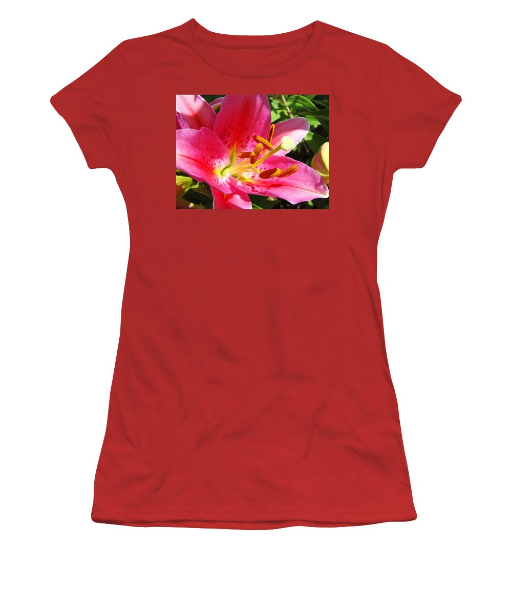 Lilies Women's T-Shirt (Athletic Fit) featuring the photograph Lily Flower Pink Lilies Giclee Art Prints Baslee Troutman by Baslee Troutman