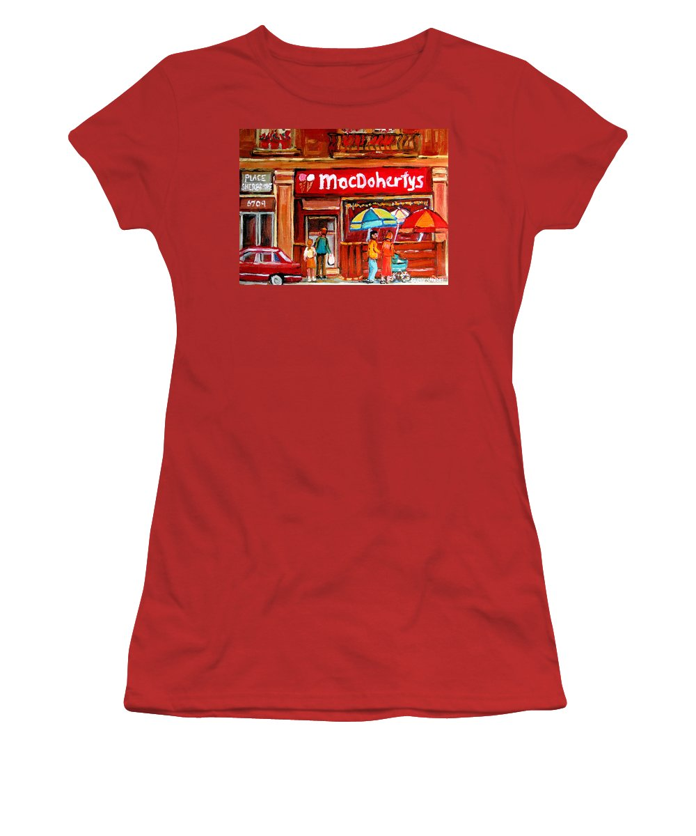 Macdohertys Women's T-Shirt (Athletic Fit) featuring the painting Macdohertys Icecream Parlor by Carole Spandau