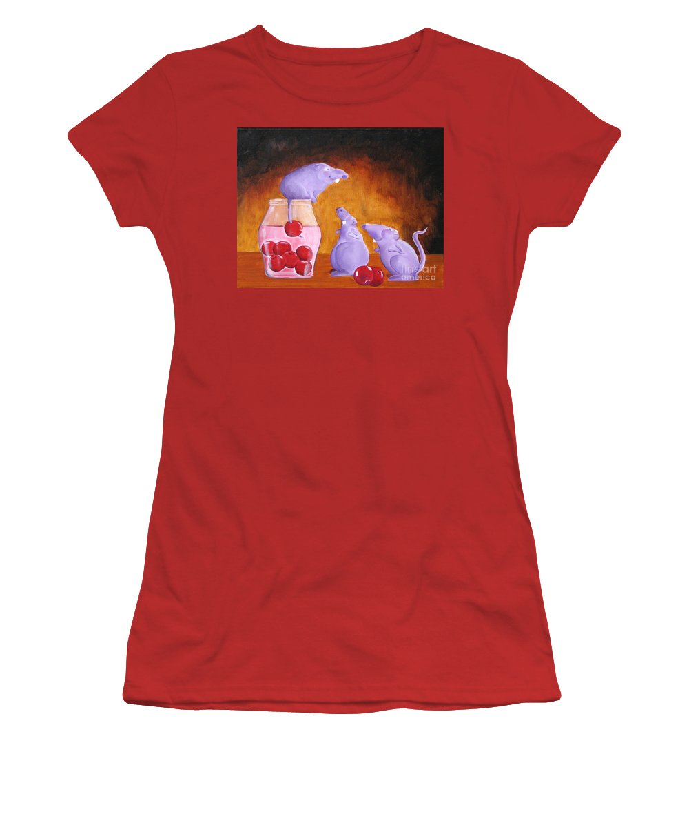 Mice Women's T-Shirt (Athletic Fit) featuring the painting Mioummmmmmmmmm Cherriesssssssssss by Line Gagne