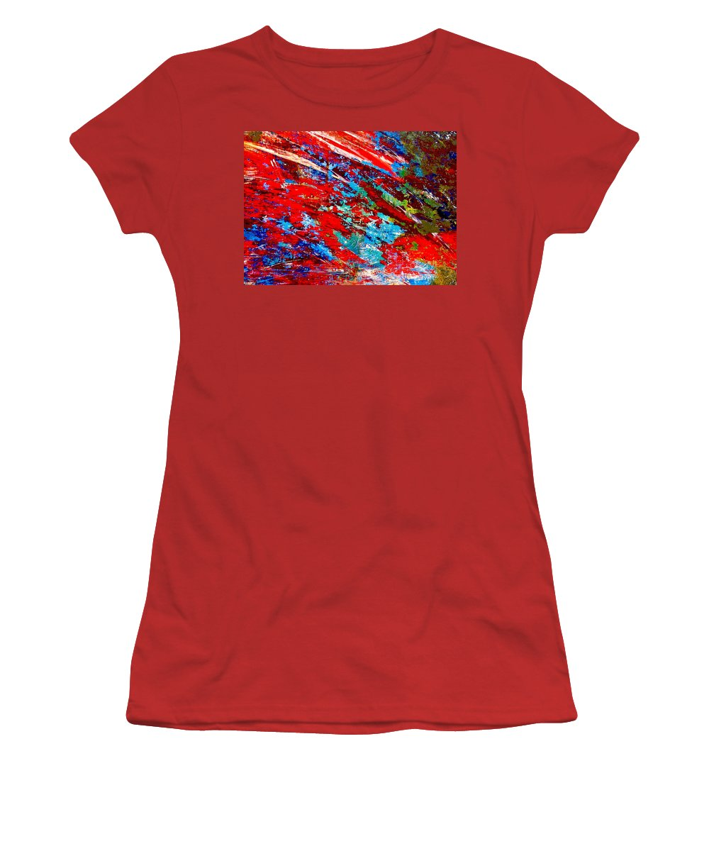 Abstract Women's T-Shirt (Athletic Fit) featuring the painting Nature Harmony by Natalie Holland